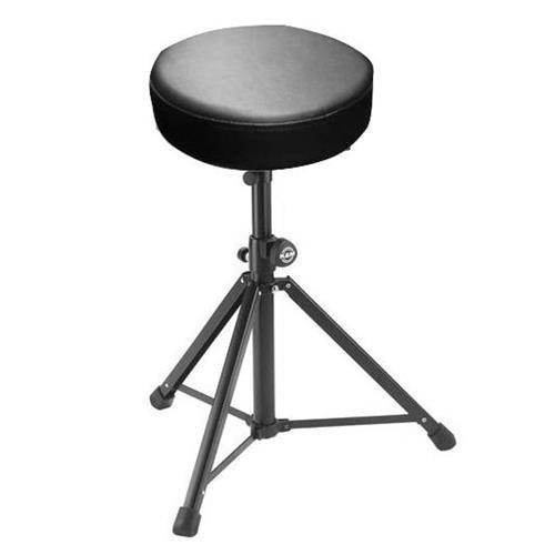 K & M 14052.070.55 Round Seat Stool, 22.05 to 36.61 Height, 2-Piece Folding Design, Black Leather