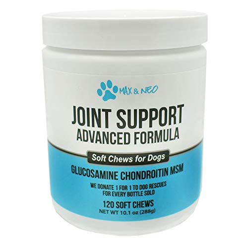 Max and Neo Joint Support and Care Glucosamine, MSM, Chondtoitin, Turmeric Dog Chew Supplements - We Donate One for One to Dog Rescues Every Bottle Sold (120 Chews)