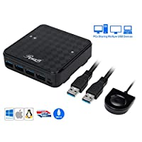 Rosewill USB 3.0 Sharing Switch Box, 4 Port USB 3.0 Peripheral Sharing Switch Hub for 2 Computers to Share USB Devices via PC Select Controller w/ 70-inch Cable, 2 USB 3.0 Cables Included