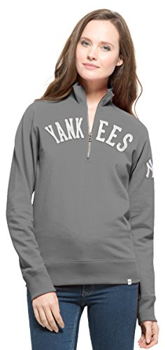 MLB New York Yankees Women's 47 Cross Check 1/4-Zip Pullover Jacket, Small, Wolf Grey