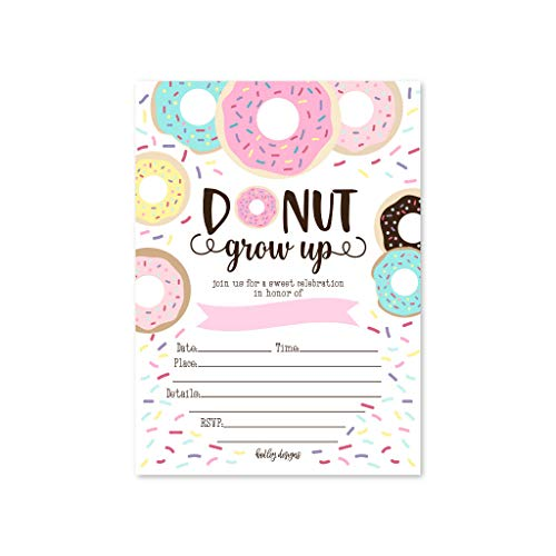 Donut Party Invitations (25 Donut Kids Birthday Party Invitations, First Baby Shower Invites, Boy or Girl 1st Bday or Gender Reveal Theme, Doughnut Grow Up Children Toddler Themed Supplies, Printed or Fill in)