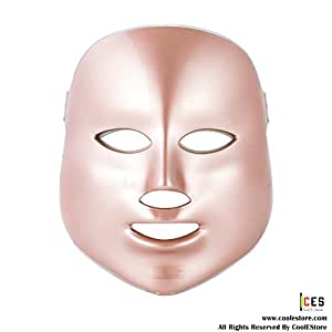 CoolEStore Photon Therapy Seven color Light Treatment Facial Beauty Skin Care Phototherapy Mask Rose Gold FDA Cleared