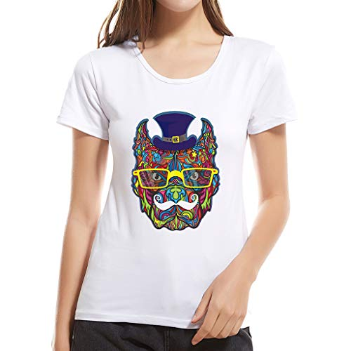 QBQCBB Summer Ladies Casual Fashion Round Neck Short Sleeve Modal Cotton T-Shirt Top(White,M)