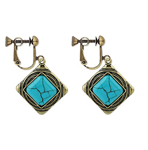Usresu Clip on Earrings Vintage Geometric Dangle Turquoise Bronze Gold Plated