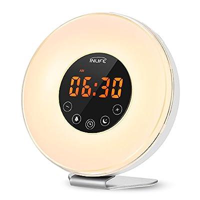 INLIFE Wake Up Light, Despertador de Luz, con 7 Colores Ajustables, 7 Sonidos Naturales y 10 Intensidades de Luz, Radio FM, Control Táctil, Función de Snooze, Simulación de Amanecer y Atardecer, Cargador de USB