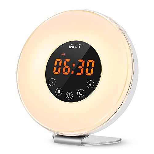 INLIFE Wake up Light Sunrise Alarm Clock Bright LED Light 7 Changing Colors Night Light  for Heavy Sleepers, with Nature Sounds, FM Radio, Touch Control, Snooze ()