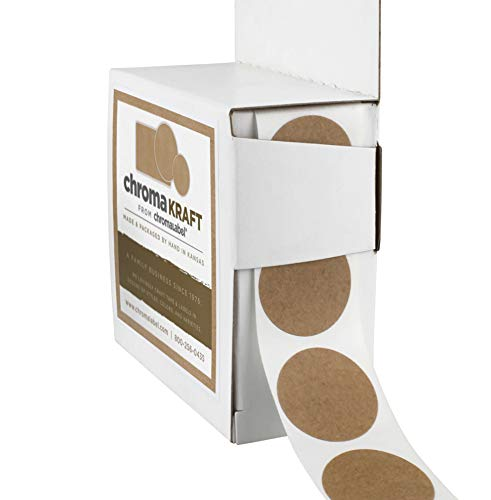 ChromaLabel Kraft Dot Labels | 1,000/Dispenser Box (1 inch)