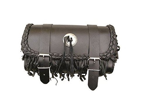 AL3502 Allstate Leather - Genuine Leather Motorcycle Tool Bag - Braid Leather & (Leather Fringe Motorcycle Tool Bag)