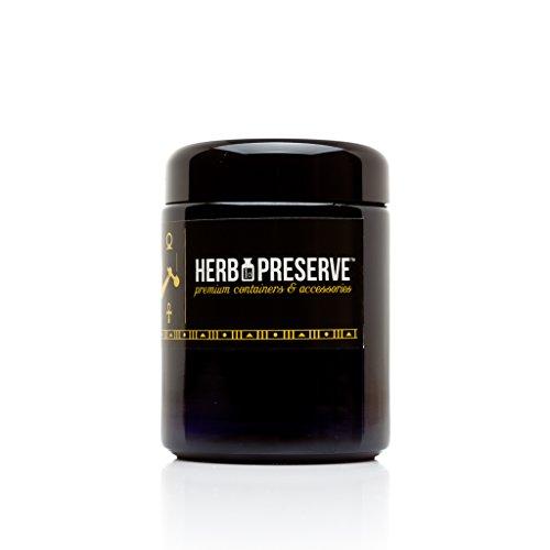 Mushroom Canister Set - Herb Preserve Half Oz (250 Ml) Capacity Medium Size Screwtop Jar 10 PACK Set Black Ultraviolet Refillable Glass Stash