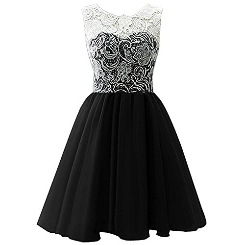 Star Flower Big Girls Short Tulle Prom Dress Bridesmaid Homecoming Gown with Lace (10, Black) (Ruched Dress Dress Short Little Black)