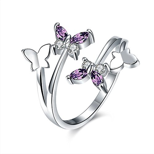 Childrens Butterfly Ring - Haokan Women's Open Adjustable Butterfly Ring Sterling Silver Gold Zircon for Prom Girls Jewelry Birthday Gifts