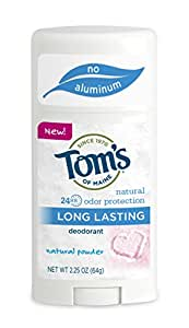 Tom's of Maine Long Lasting Natural Deodorant Stick, Powder, 2.25 Ounce, 3 Count
