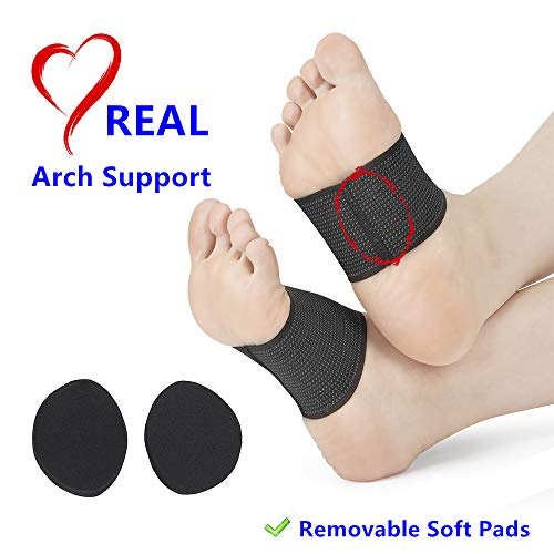 Arch Support Brace Plantar Fasciitis Sleeves with Removable Soft Arch Cushions Pads Insert Flat Foot Orthotics for Men Women Pain Relief Heel Spurs (Large Size W 7.5-13 / M 5.5-11)