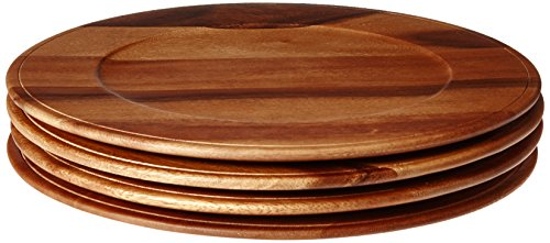 Enrico 1445T83S4 Acacia Wood Chargers, Set of 4