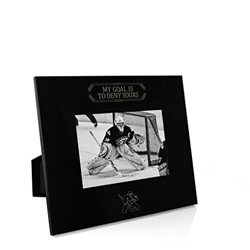 My Goal is to Deny Yours (Goalie) Frame | Engraved Hockey Picture Frame by ChalkTalk Sports | Horizontal 4X6