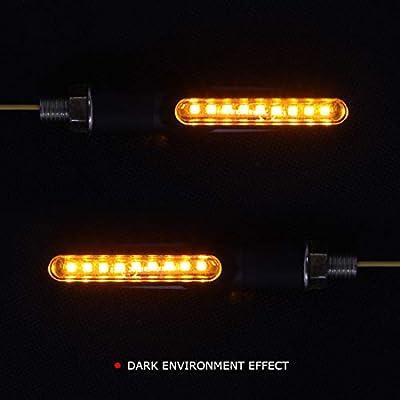 2pc Black 12V Motorcycle Led Blinkers Turn Signal Indicators Flashing LED Amber Yellow (style 1): Automotive