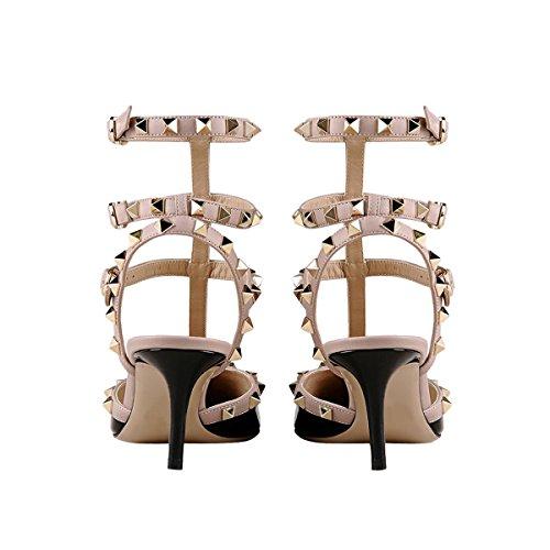 Mavirs Womens Punta A Punta Cinturino Alla Caviglia Pompe T-strap Tacco Medio Rivetti Scarpe Borchiate Nere