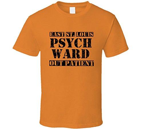 East St. Louis Illinois Psych Ward Funny Halloween City Costume T Shirt 2XL Orange