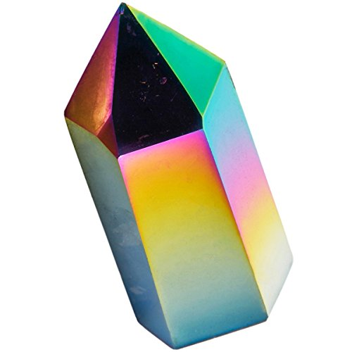 (SUNYIK Rainbow Aura Titanium Coated Single Point Prism Wand,Self Standing Crystal Gemstone Figurine Sphere,Healing Chakra,1.3