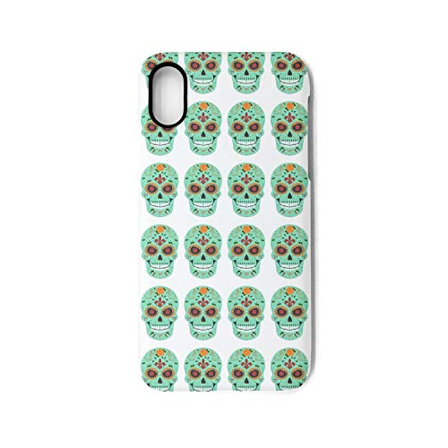 IPhoneX Case Smiling Flower Sugar Skull Printing Anti-Finger Anti-Scratch TPU Heavy Duty Protection Phone Back Cover for iPhoneX Case -