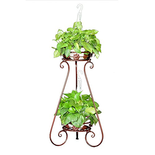 AISHN Indoor Display Rack Double Basin Classic Finial Plant Stand/Plant Stand with Finial (Bronze) (Narrow Plant Stand)