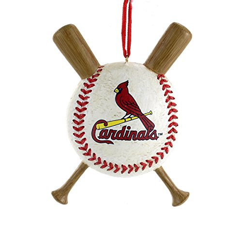 St Louis Cardinals Baseball and Crossed Bats MLB Christmas Ornament - Mlb Christmas Ornaments