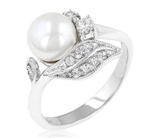 0.8 Ct Baguette (BELOVED SPARKLES - Holly Freshwater White Pearl Baguette 0.8ct Cubic Zirconia Ring (10))