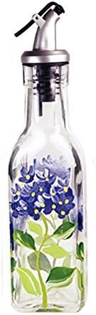 6 oz Grant Howard Hand Painted Square Cruet with Pourer Blue Hydrangeas Multicolor