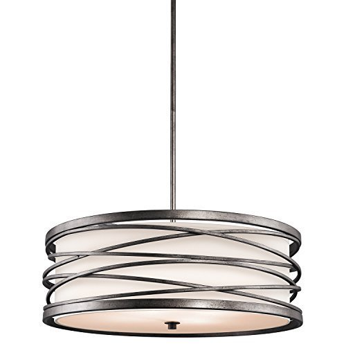 - Kichler Lighting 42465WMZ Krasi 4-Light Pendant with Clear Etched Glass Diffuser, Warm Bronze Finish/Off-White Fabric Shade by Kichler Lighting