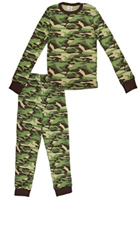 Andrew Scott Boy's Base Layer 100% Cotton Long Thermal Underwear Set (LARGE/14-16, Camo Green) Boys Camo Thermal