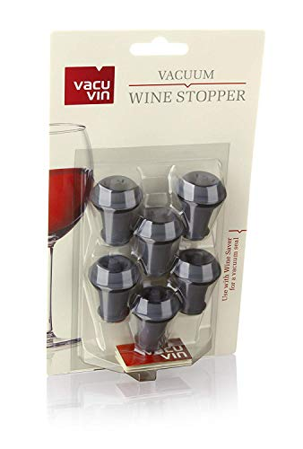 - Vacu Vin Wine Saver Vacuum Stoppers Set of 6 - Grey