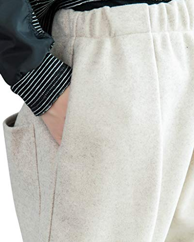 Harem Spessore Vita Beige Casual Elastica Sciolto Bigassets Pantaloni Di Lana Donna Caldo wCOqFC7R4