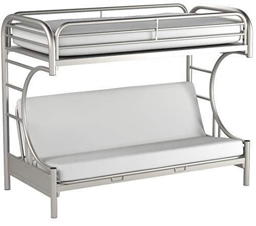 Eclipse Twin Over Full Futon Bunk Bed, Silver