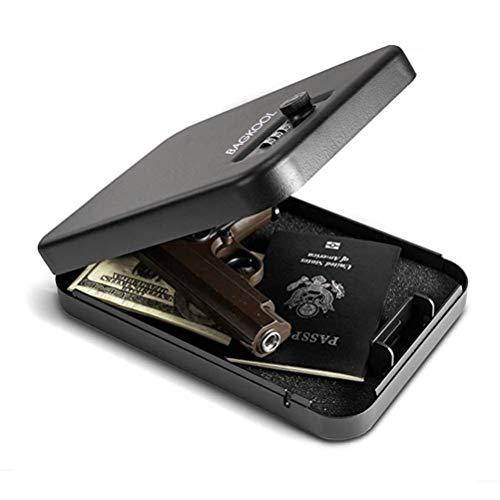 - BAGKOOL Pistol Safe Portable Metal Travel Gun Safe Handgun Lock Security Box Case with Key Lock & 3 Digits Combination Lock (Digits Combination Lock)