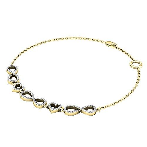 Dazzlingrock Collection 0.25 Carat (ctw) 14K Round White Diamond Ladies Infinity Heart Link Bracelet 1/4 CT, Yellow Gold ()
