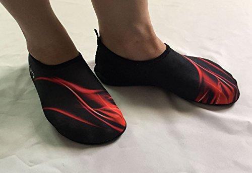 Panegy - Zapatos de Agua Acuático Unisex para Hombre Mujer Clazadoas Deportivos Skin Shoes Barefoot Slip on Para Natación Playa Baño Buseo Surf Antideslizantes - Rojo Azul - Talla EU 36 38 40 42 44 Rojo
