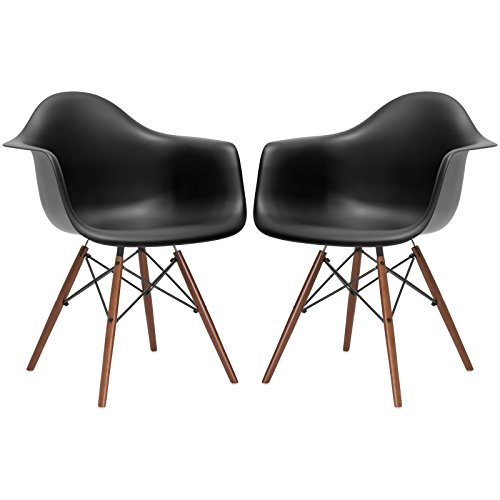 Poly and Bark Vortex Arm Chair Walnut Leg, Black, Set of 2