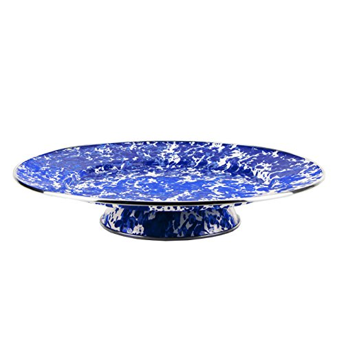 Enamelware - Cobalt Blue Swirl Pattern - 15.5 Inch Cake Plate