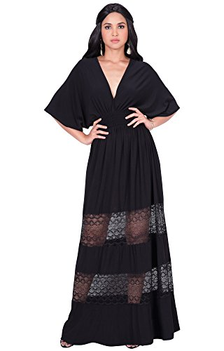 Sexy Summer Spring V-Neck Half Short Kimono Sleeve Sundress Lace Flowy Casual Empire Waist Boho Bohemian Tall Beach Elegant Maxi Dress Gown, Black L 12-14 (Flutter Sleeve Matte Jersey Dress)