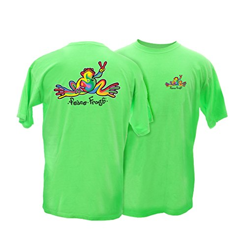 Peace Frogs Adult Retro Frog Short Sleeve T-Shirt (Lime, X-Large)