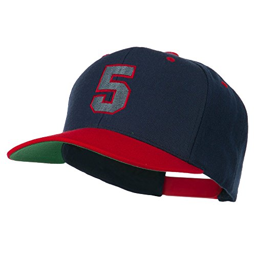 (Athletic Number 5 Embroidered Classic Two Tone Cap - Navy Red OSFM)