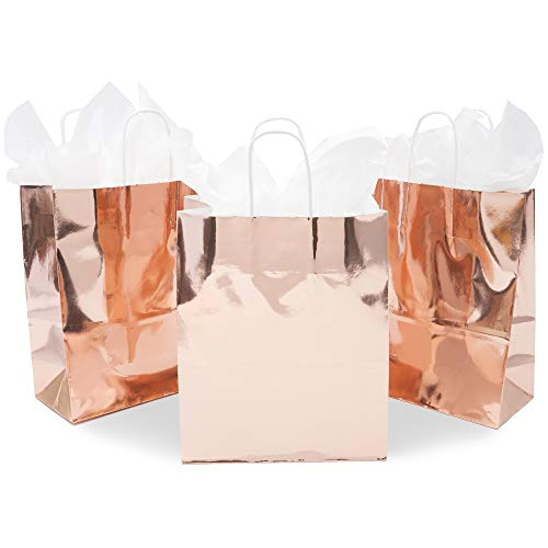 Sparkle and Bash Metallic Party Favor Gift Bags (15 Pack) Rose Gold, 8 x 10 x 4 Inches