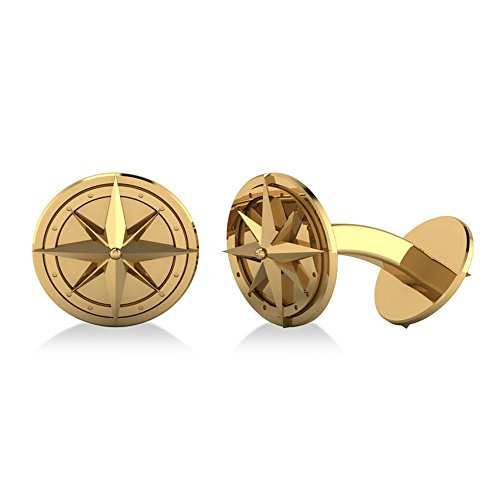 14k Yellow Gold Round Nautical Compass Travel Cuff (Gemstone Yellow Cufflinks)