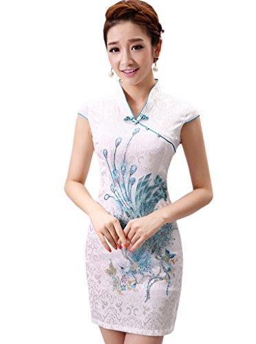 YueLian Frauen Sommer Retro Cheongsam Kurze Kleider mit V-Ausschnitte QiPao Kleid Blau Phönix inzucwdz