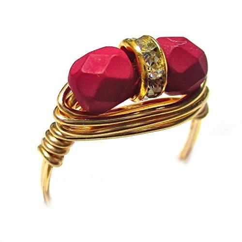 Fuchsia Czech Art Glass Duet Gold Wire Wrap Ring