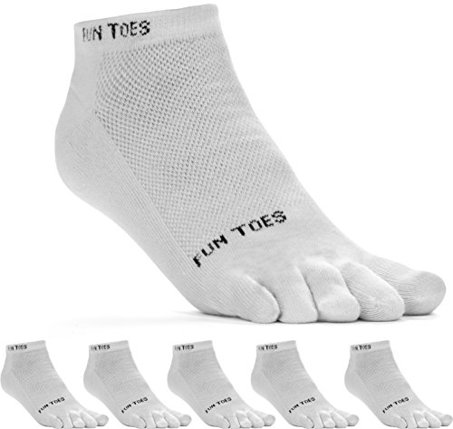 (FUN TOES Men's Toe Socks Barefoot Running Socks-Pack of 6 Pairs- Size 10-13 WHITE/GRAY )