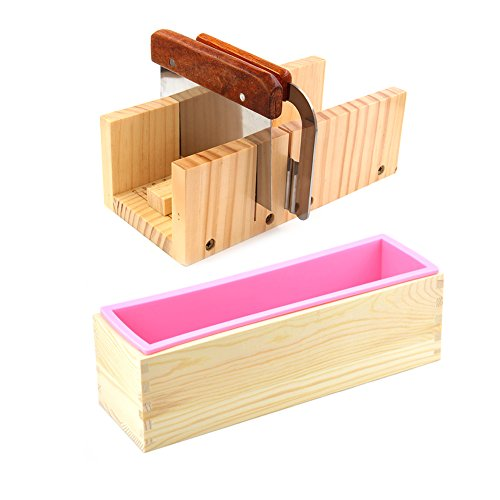 Soap Molds Cutters - Peicees Adjustable Wooden Soap Loaf Cutter Mold + 2 Pieces Stainless Steel Cutters + Rectangle Silicone Mold with Wood Box