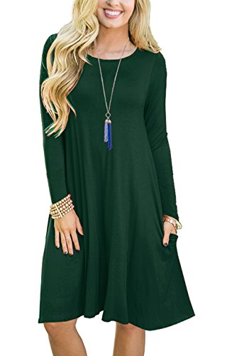 GRECERELLE Womens Long Sleeve Casual Loose T-shirt Dress Dark Green-L