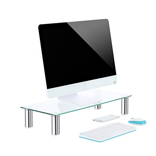 TAVR Clear Computer Monitor Stand Desktop Riser with Tempered Glass Height Adjustable 23.6 x 10.2 ' CM2001