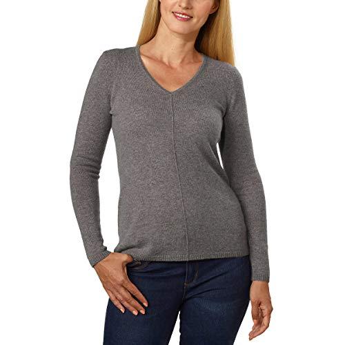 - BELFORD Ladies' V-Neck Cashmere Sweater (M, Grey)